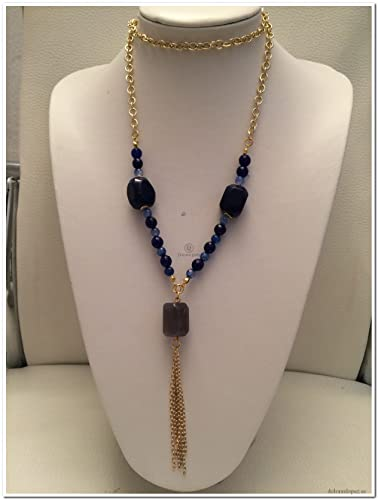 5de8fccf67b9 Collar cadena dorada y piedras azules  Amazon.es  Handmade