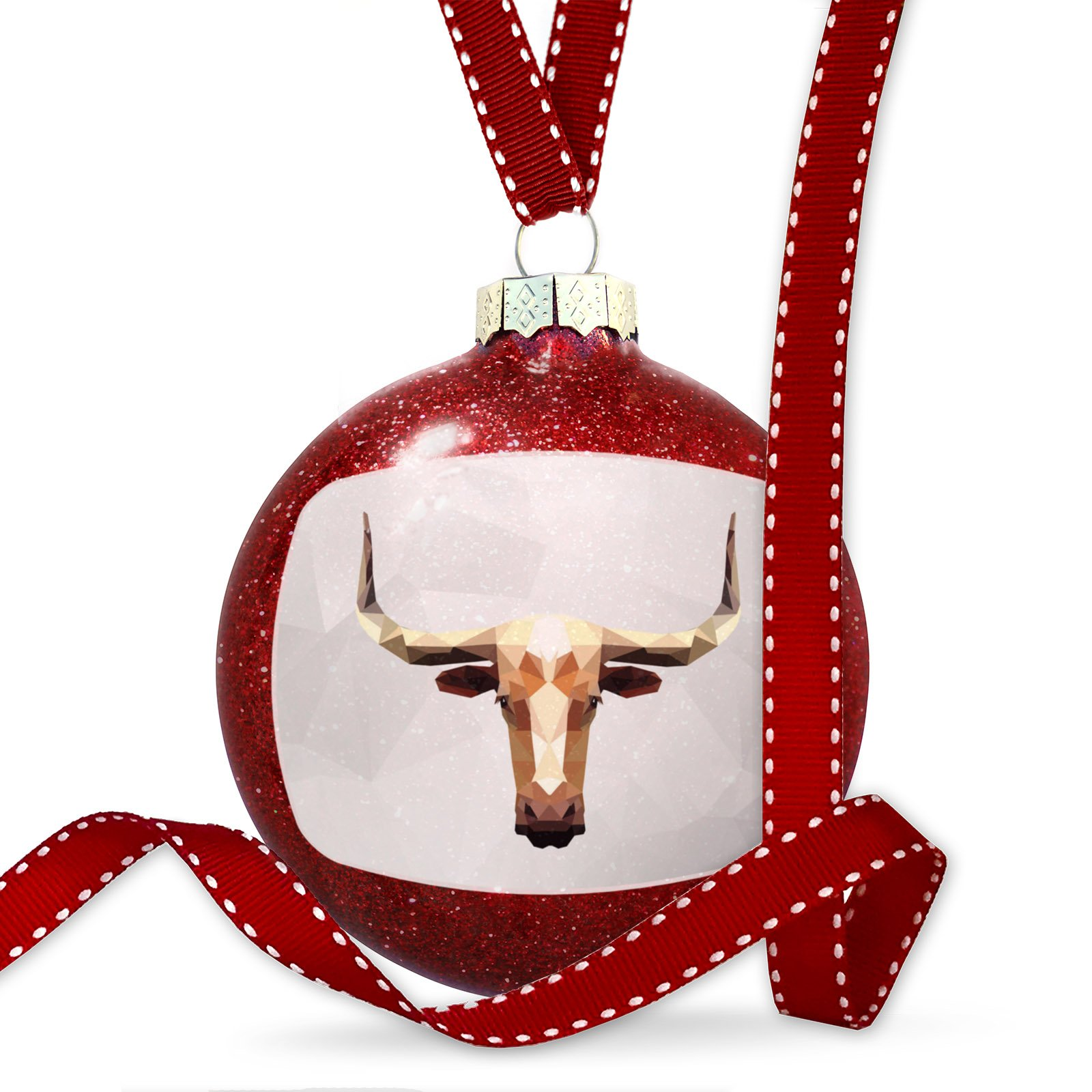 Christmas Decoration Low Poly zoo Animals Longhorn Ornament by NEONBLOND
