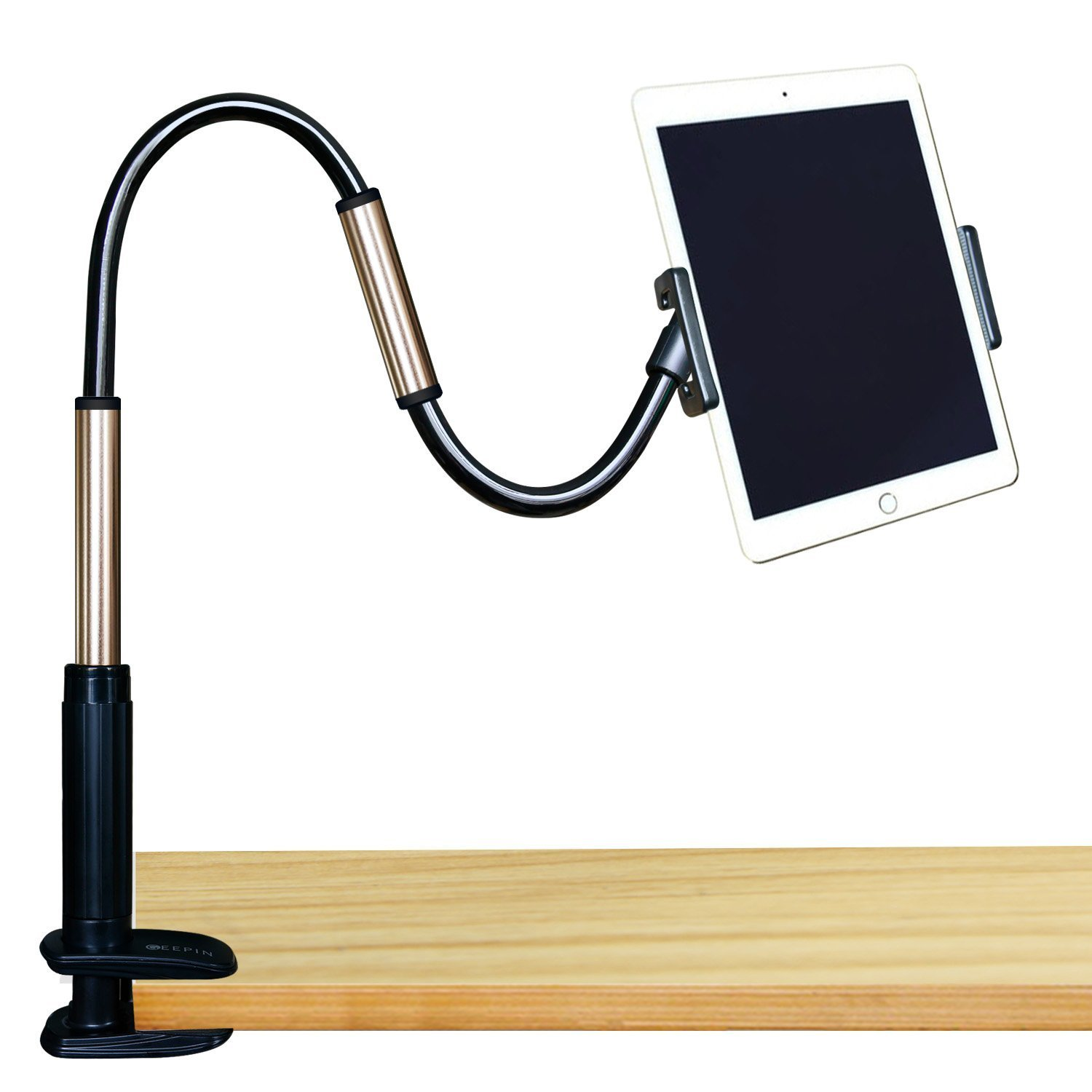 GEEPIN Clamp Mount Tablet Stand iPad iPhone, 3.3 Ft Tall Adjustable Arm 360° Rotating Aluminum Gooseneck Swivel Universal Lazy Holder Bed Office.