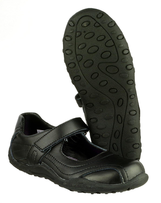 Mirak Girls Freya Black Leather Sporty Bar Shoe