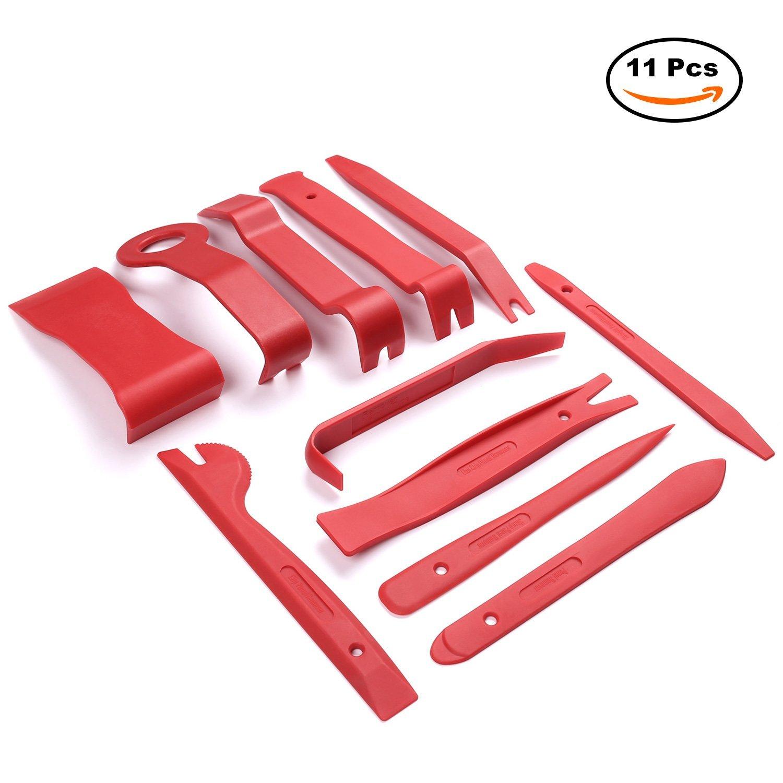 AUTOWN 11tlg Innen-Verkleidung Auto Werkzeuge Reparatur Set Demontage Montage-Keile Zierleistenkeil Cliplö ser fü r Tü rverkleidung - Rot