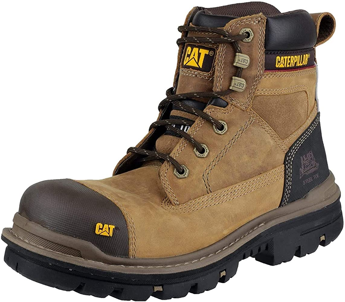 Safety Boots Brown Beige Leather UK