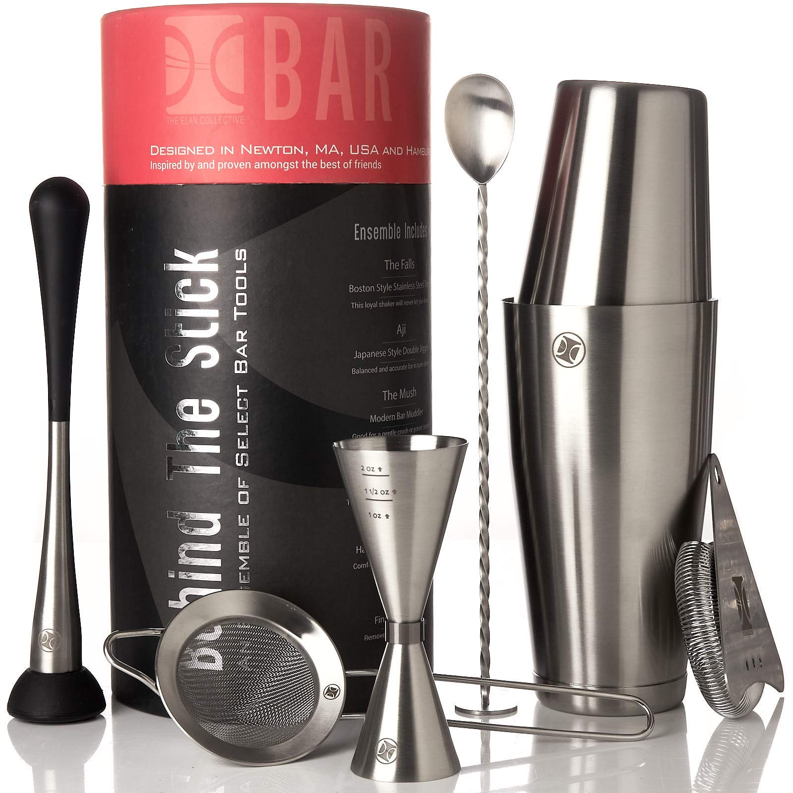 Boston Cocktail Shaker Set I Bar tools, 7 Piece Barware Kit - 2 Piece Boston Shaker, Jigger, Bar Spoon, Hawthorne & Citrus Strainers, Muddler in Brushed Stainless Steel by The Elan Collective