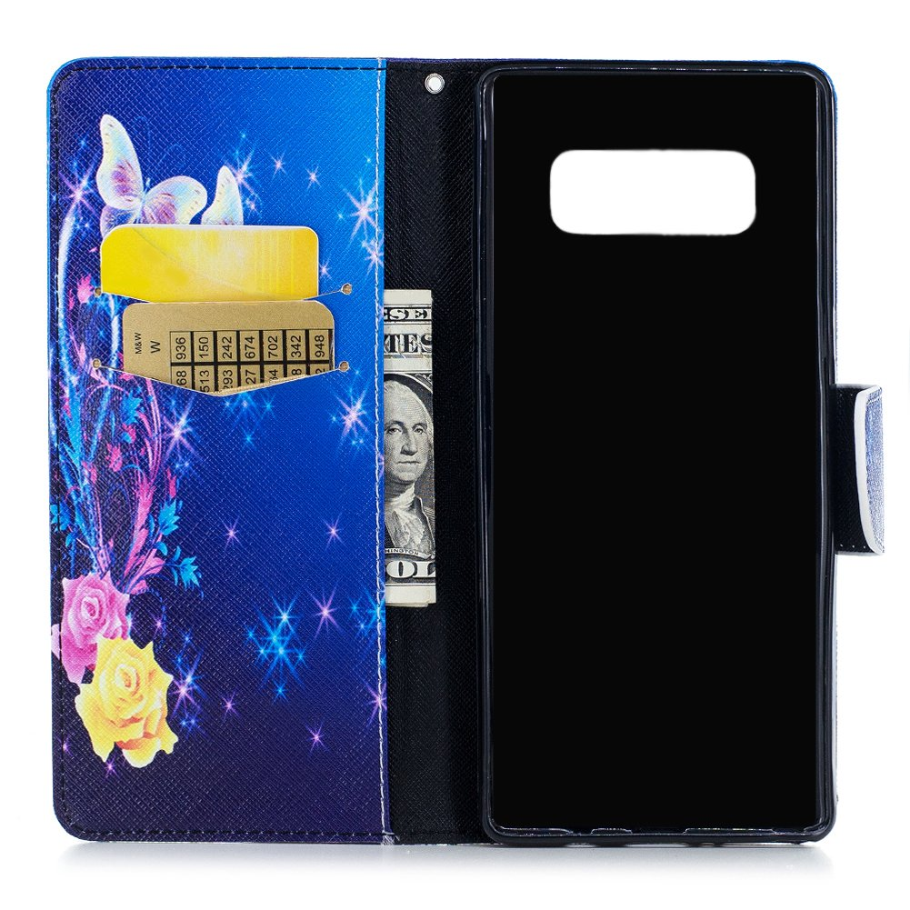 Galaxy Note 8 Case,Note 8 Case with Stylus Pen,Qbily Floral Butterfly Luxury Glitter Bling Leather Flip Kickstand Cover Wallet Case [Card Slots Holder/Magnet] Cute Girls Women Protective Case Blue by Qbily (Image #4)