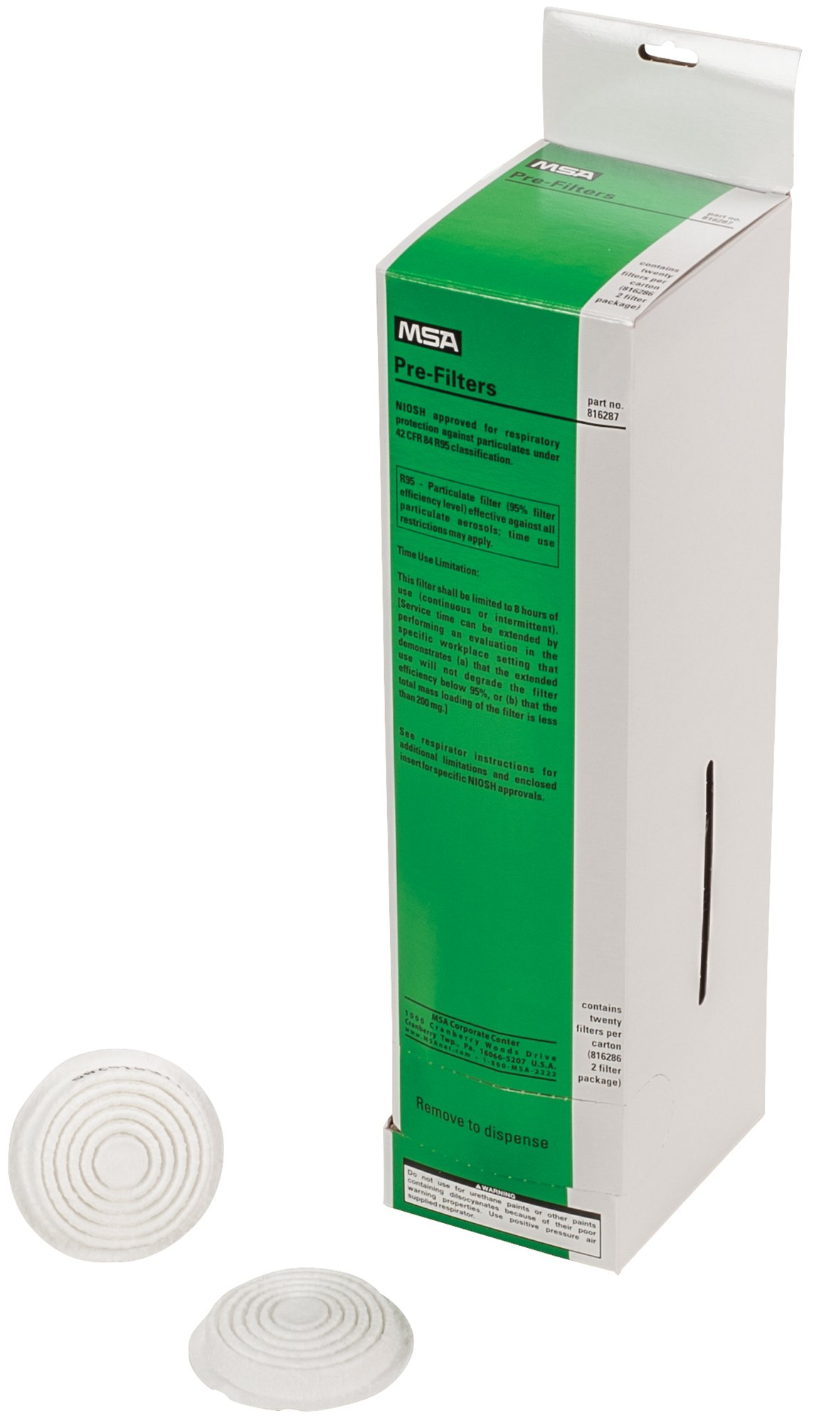 MSA 816287 R95 Pre-Filter for Comfo Ultra-Twin Respirators (Pack of 20)