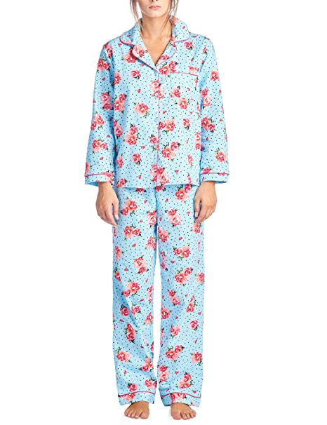 Casual Nights Women s Sleepwear Flannel Long Sleeve Pajama Set - Blue Pink  - XX-Large at Amazon Women s Clothing store  5559d3825
