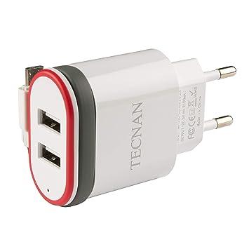 Tecnan Cargador 2 Puertos USB Cable Cargador Micro USB Macho ...