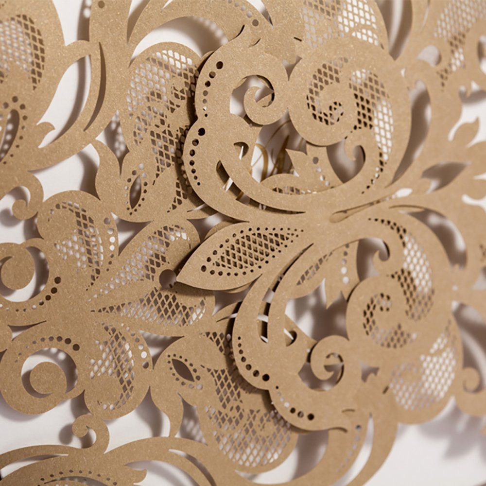 Copper Laser Cut Lace Flora Wedding Invitations Elegant Mariage Decoration Wedding Event Cards CW3109 (100) by Wishmade (Image #2)