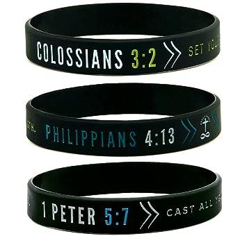 Amazon 6 pack faith wristbands w bible verses religious 6 pack faith wristbands w bible verses religious christian apparel bracelets negle Images