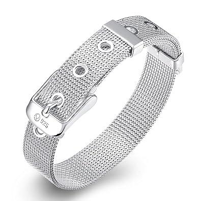 925 Sterling Silver Mesh Belt Buckle Bracelet Adjustable UK Seller