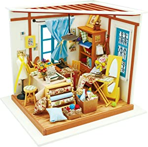ROBOTIME DIY Dollhouse Kit Miniature Tailo's Shop Mini DIY House Kits Gifts for Adults and Teens