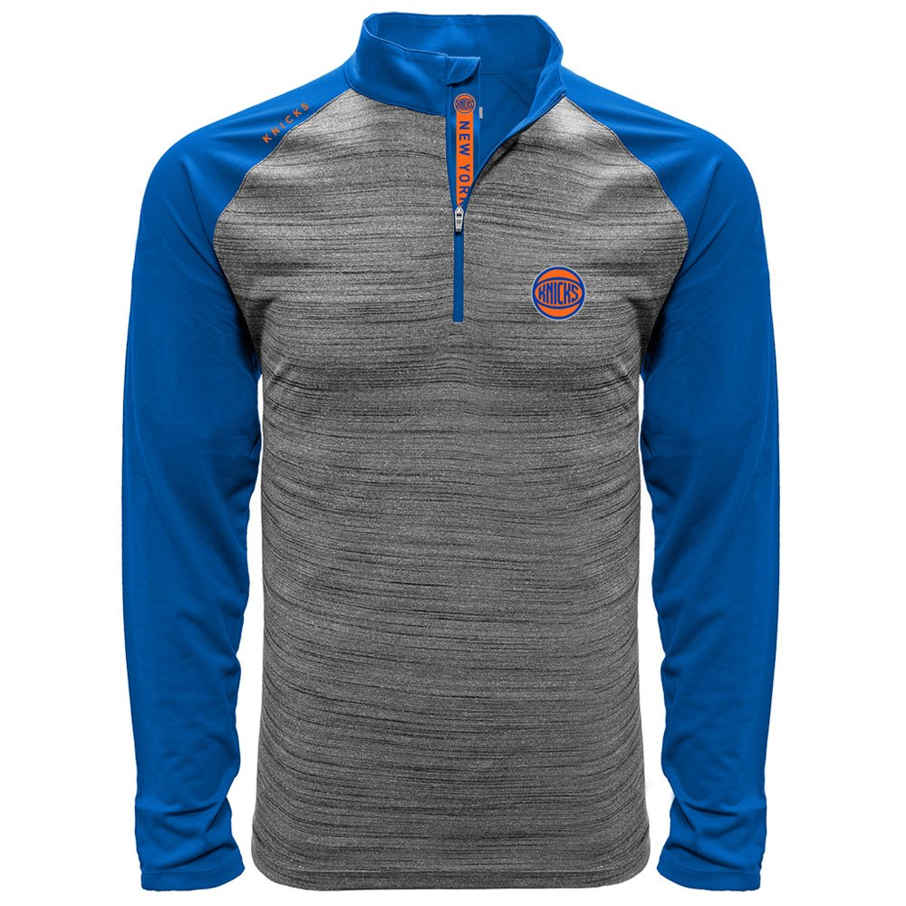 NCAAメンズVandal Wordmark Quarter Zipミッドレイヤーアパレル B074X426P7 Medium|Heather Grey/Royal|New York Knicks Heather Grey/Royal Medium