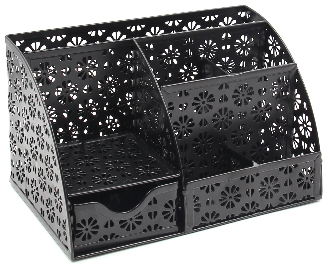 EasyPAG Office Desk Organizer with Drawer Solid Metal Snow Shaped Pattern Design,Black by EasyPag (Image #1)
