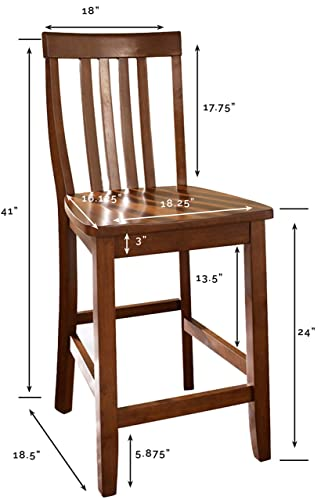Crosley Furniture Schoolhouse Bar Stool Set of 2 , 24-inch, Classic Cherry