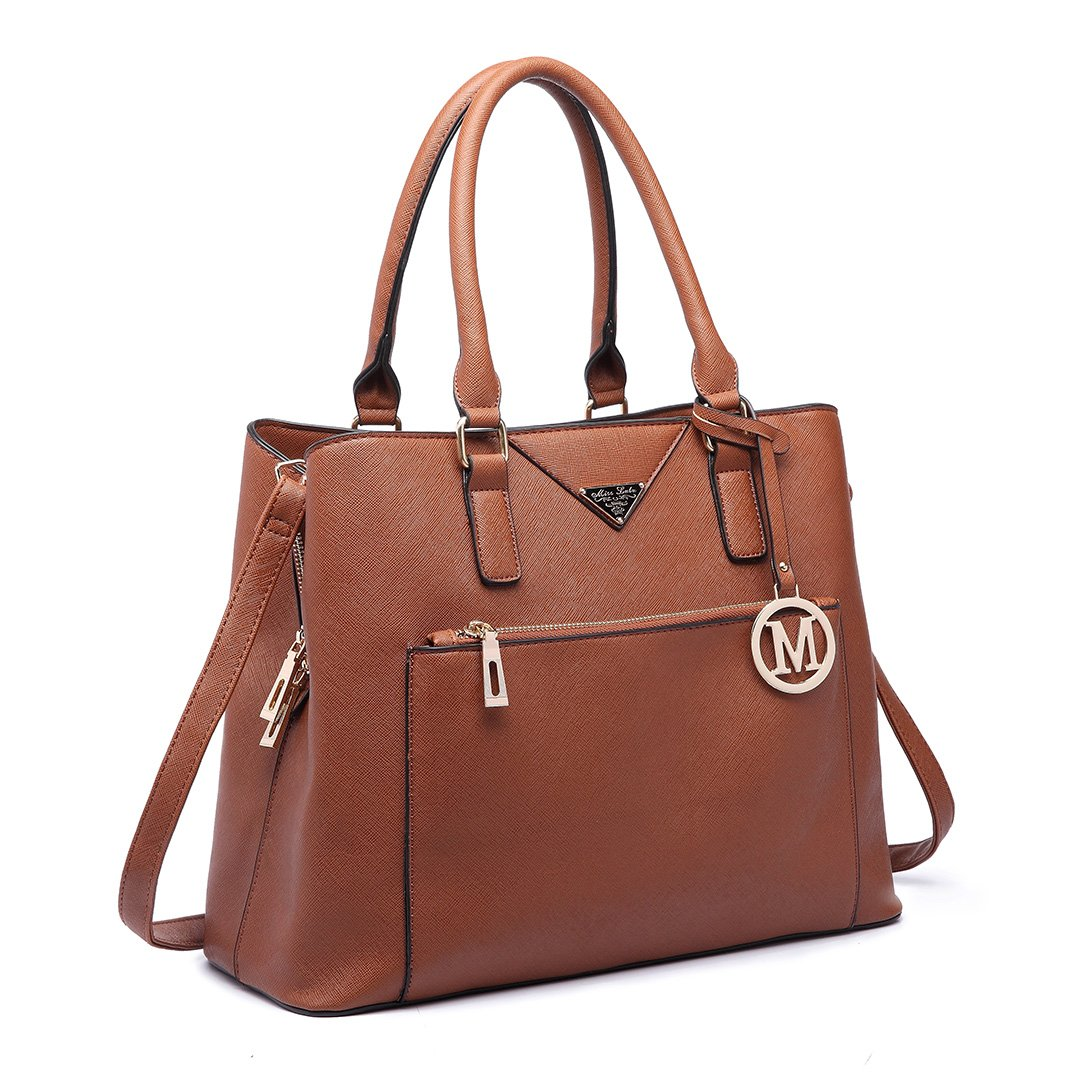 Miss Lulu Designer Purses and Handbags Simple Mature Solid Color Top Purse for Ladies (Brown LT6611)