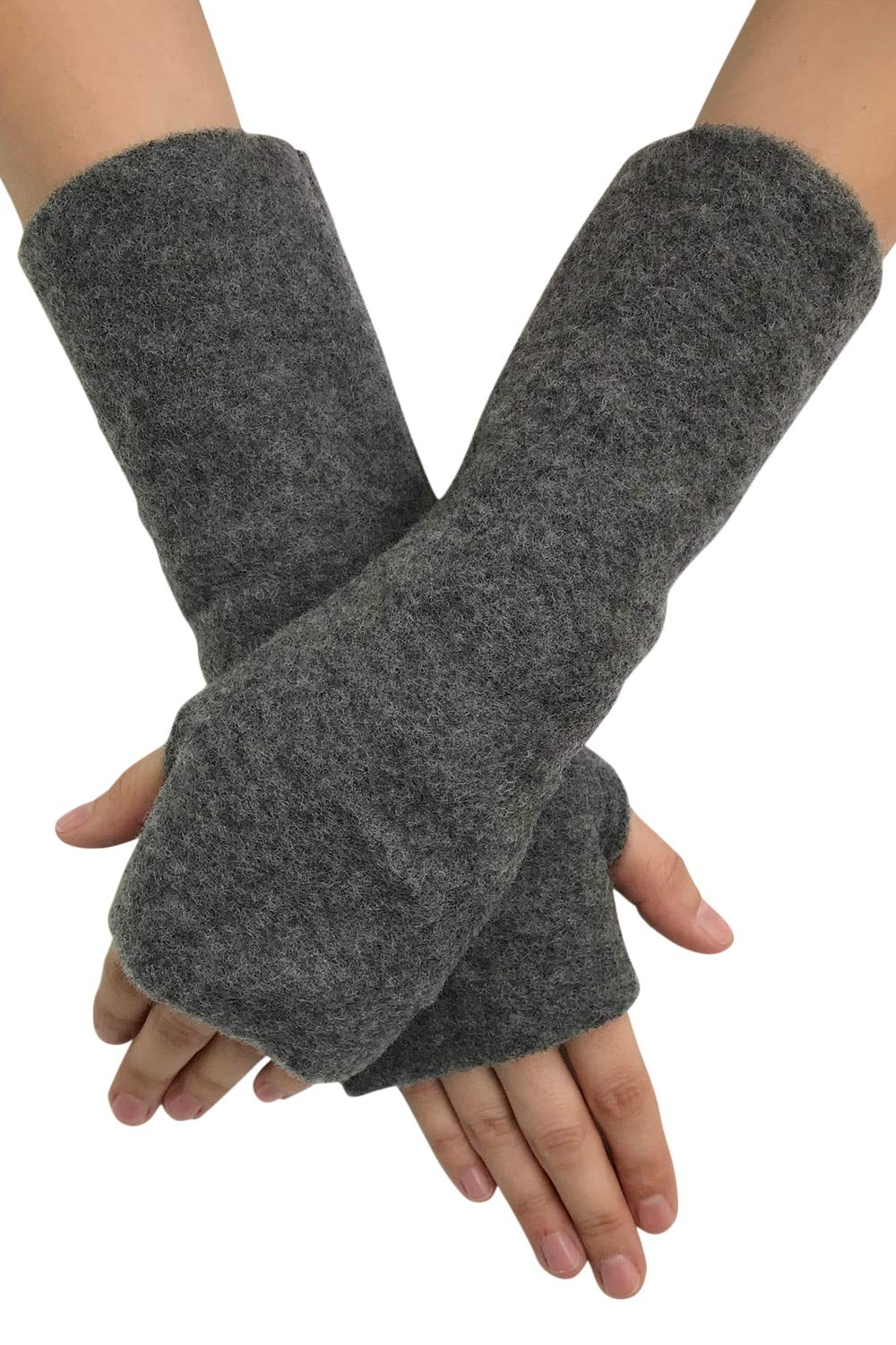 Women's Arm Warmer Sleeves - Fingerless Gloves with Thumb Holes, Pure Merino Wool Fleece (Grey Melange) by EcoAble Apparel (Image #5)