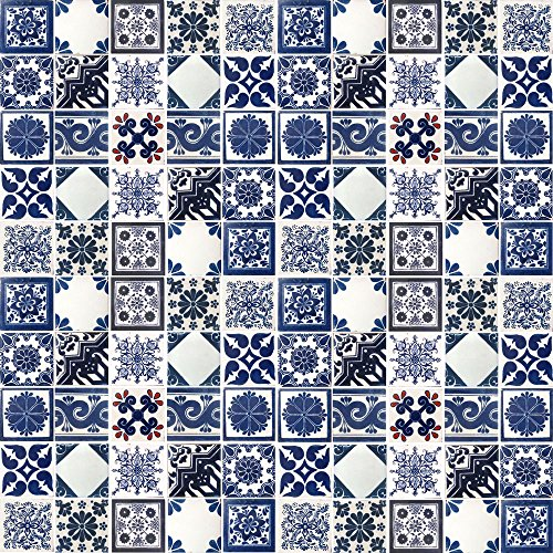 100 BLUE OFF WHITE TILES MEXICAN CERAMIC 4X4 INCH TILE