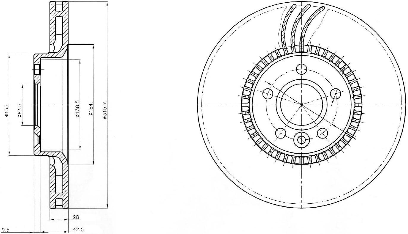 Delphi BG3784 Bremsscheibe