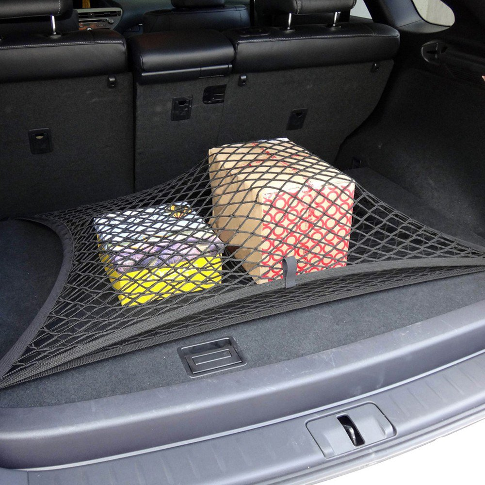Noir Taille unique Zhouba 4/crochets Filet de coffre de voiture de rangement en maille Organiseur de voiture Filet pour bagages de voiture universel Accessoires Net