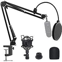 JEEMAK - Soporte de micrófono ajustable con brazo de tijera, carga máxima de 1,5 kg, hecho de acero duradero, con…