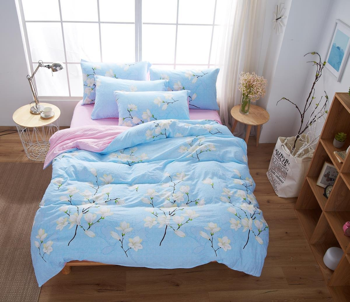 YIweNi Cotton 4-piece _ No copy simple and good drugs Washed Cotton 4 piece bedding set, Love Love flowers, a ,200230cm —
