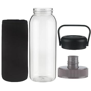 Ferexer Botella de Agua de Vidrio Borosilicato con Tapa a Prueba de Fugas,sin BPA