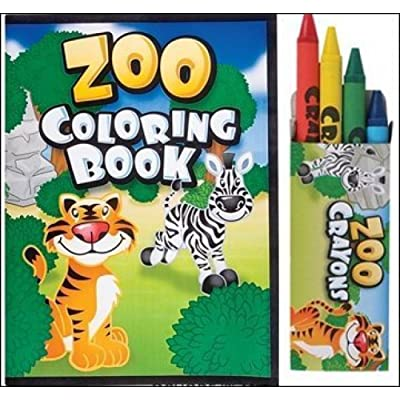 24 Pc Zoo Party Favors Lot -Includes (12) Zoo Animal Coloring Books , (12) Boxes Zoo Animal Crayons: Toys & Games