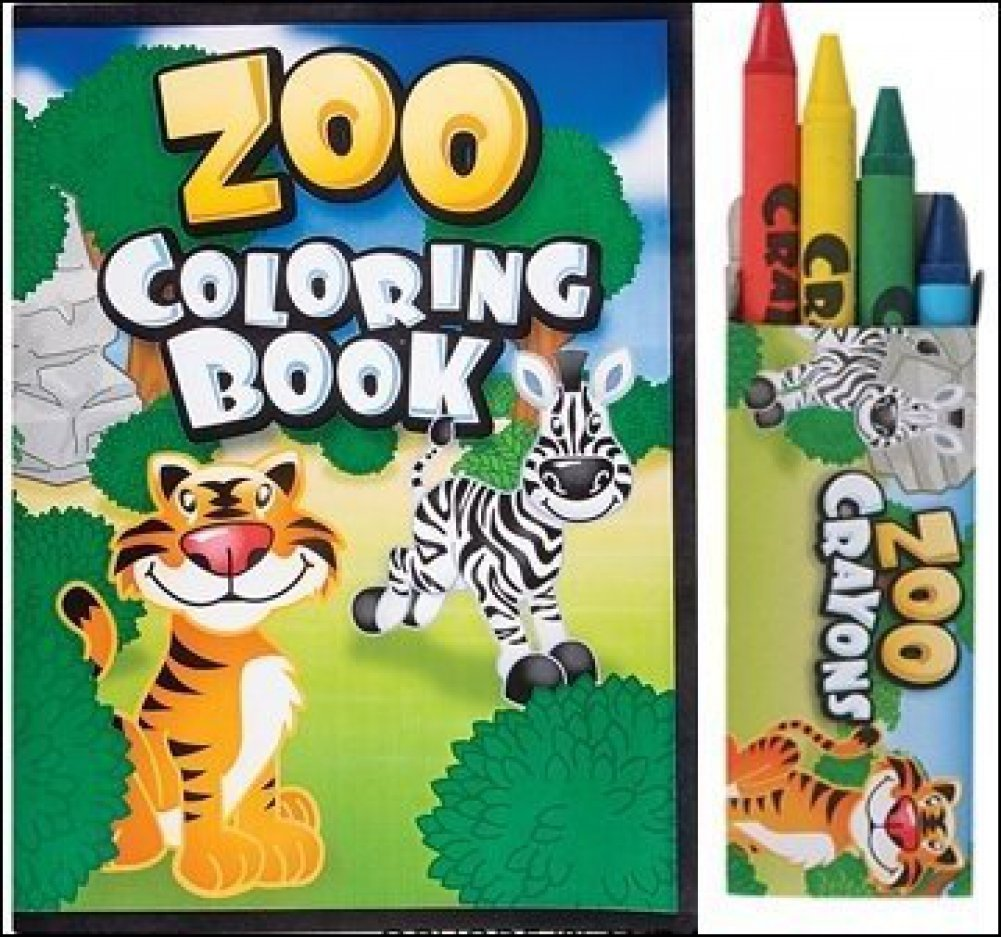 24 Pc Zoo Party Favors Lot -Includes (12) Zoo Animal Coloring Books , (12) Boxes Zoo Animal Crayons toyco