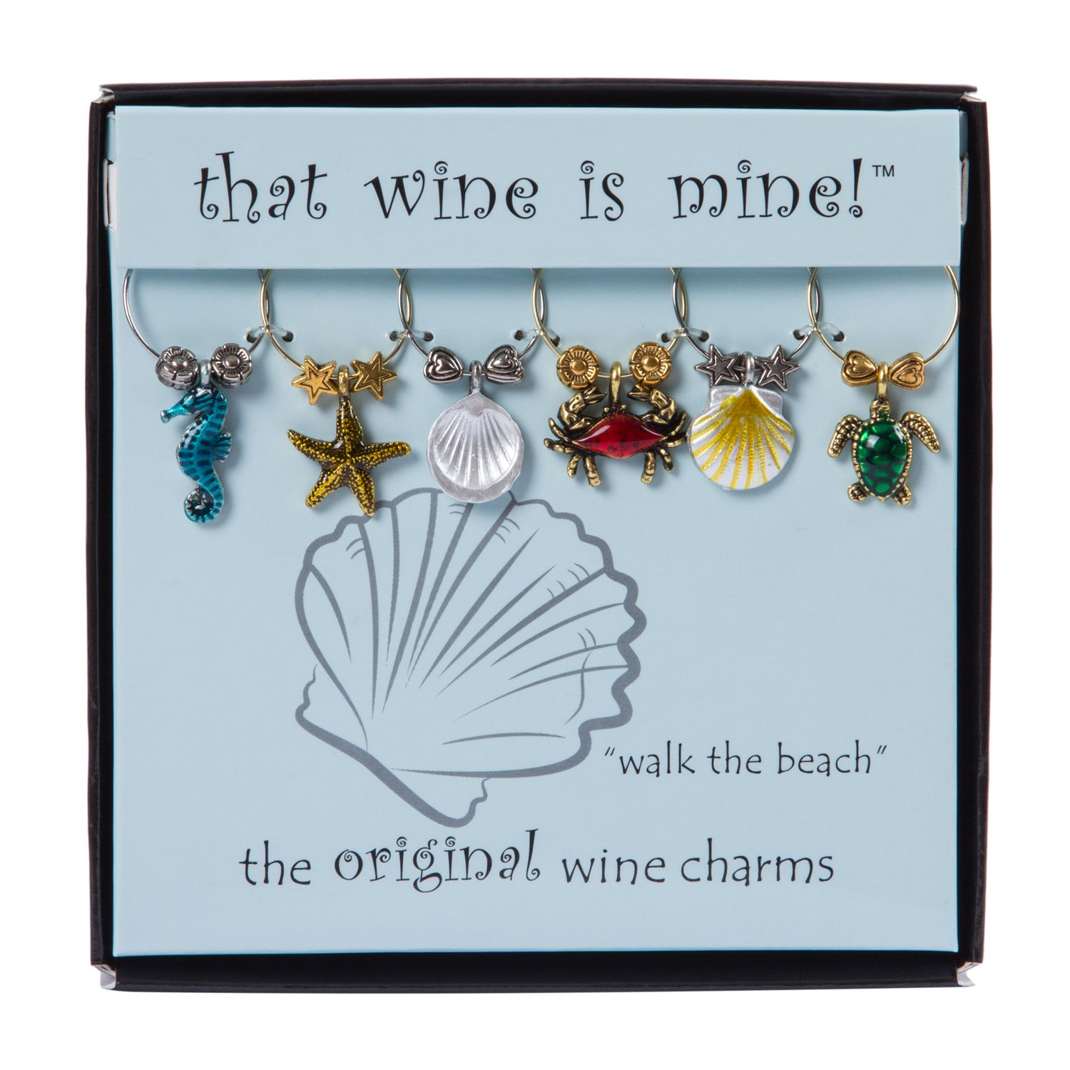 Wine Things 6-Piece Walk the Beach Wine Charms, Painted WT-1615P