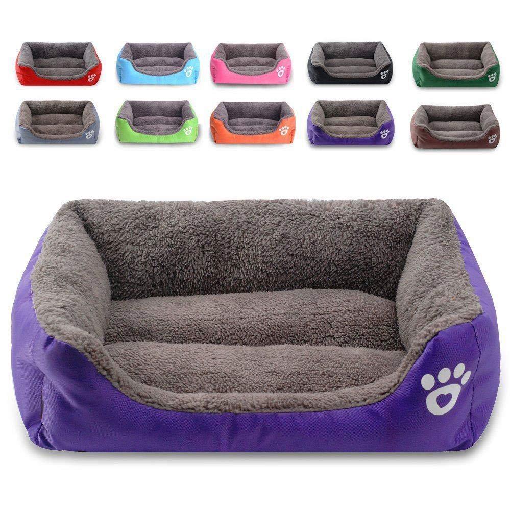 Purple SGperw Pet Dog Cushion bed House Cat Soft Warm Kennel Mat Blanket Washable Puppy Mat (color   bluee, Size   XXL) Non Slip Cushion Pad (color   bluee, Size   M)