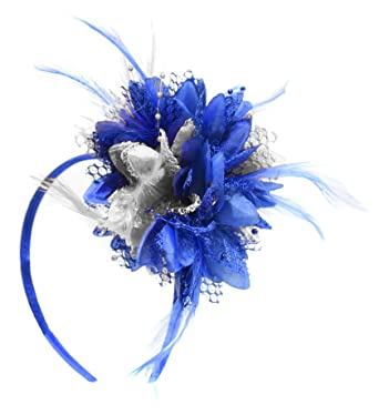 Electric Royal Blue and Silver Fascinator on Headband for Ascot Weddings   Amazon.co.uk  Clothing e80ce2cd58f