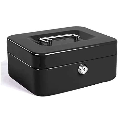 Jssmst Locking Large Steel Cash Box With Money Tray,Lock Box,Black