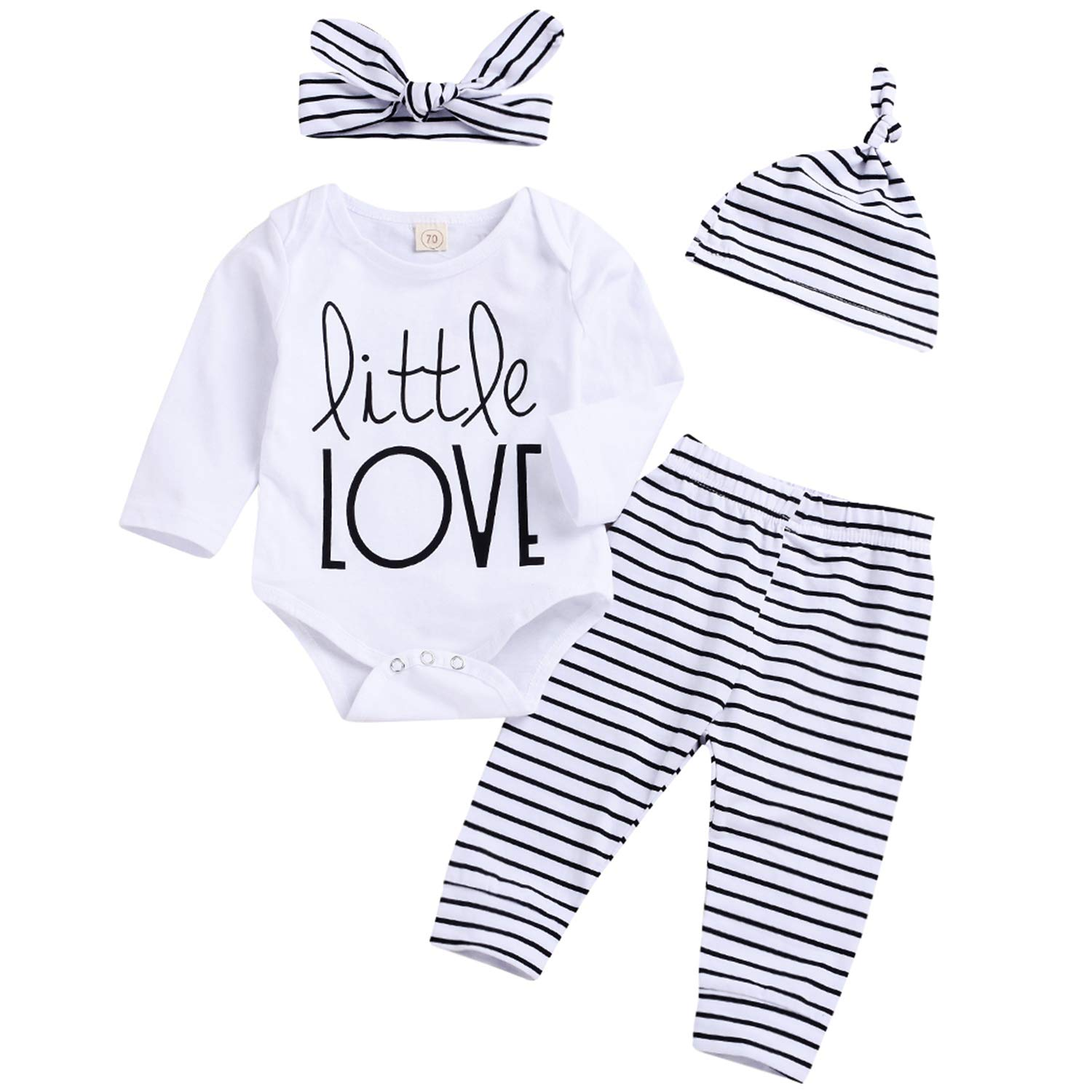 ad74e3686782 Amazon.com  YOUNGER TREE Newborn Baby Girl Boy Cotton Outfits Long Sleeve  Romper Striped Pants Hat Headband Spring Clothing Set  Clothing