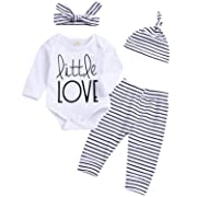 YOUNGER TREE Newborn Baby Girl Boy Cotton Outfits Long Sleeve Romper Striped Pants Hat Headband Spring Clothing Set