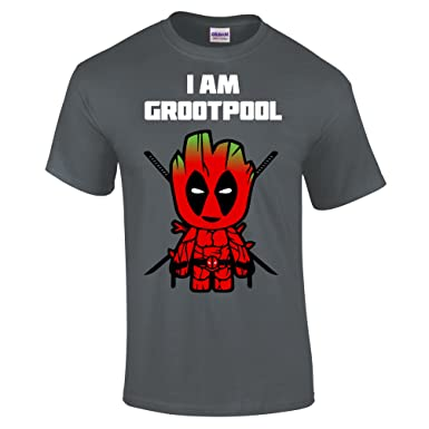 24fcaffdab1 Funky Gifts I Am Groot Pool Adults T-Shirt Grey  Amazon.co.uk  Clothing