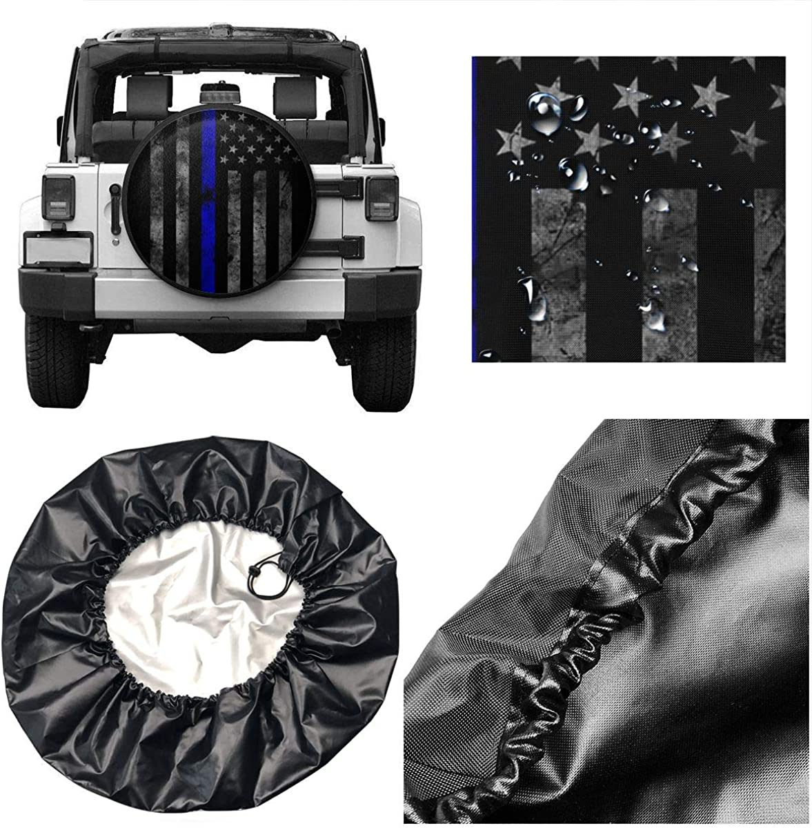 NELife Tire Cover Thin Blue Flag Polyester Wheel Tire Cover Potable Universal Wheel Covers Powerful Waterproof Tire Cover Fit for Jeep Trailer RV SUV Truck Travel Trailer Accessories 14-17 in