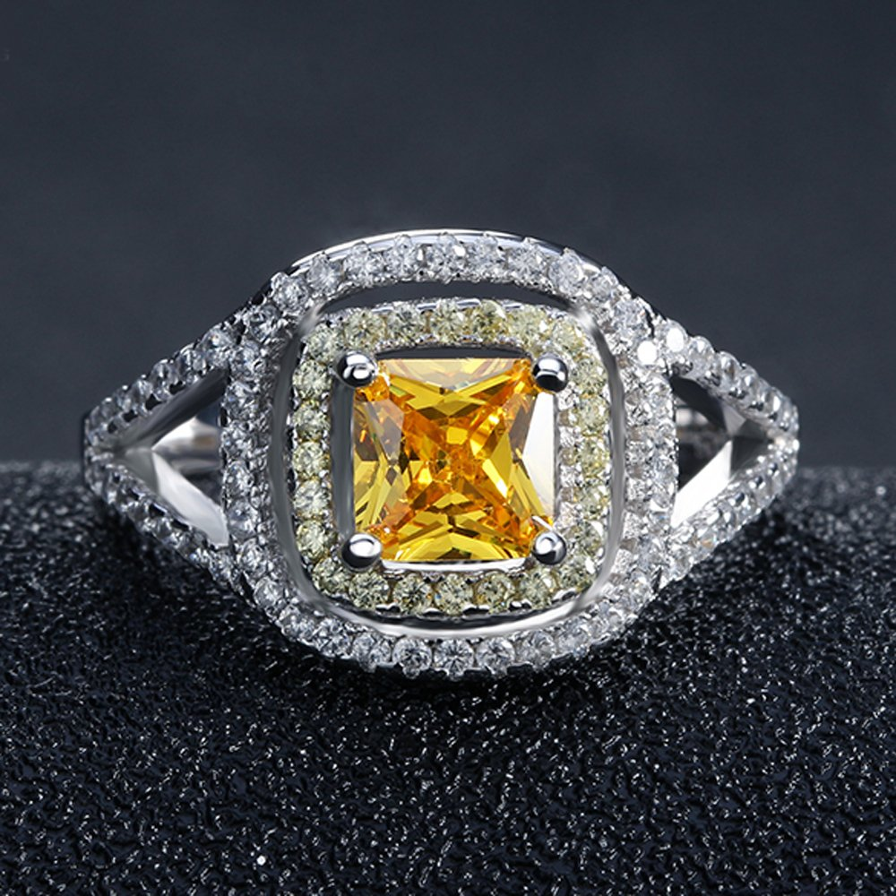FT-Ring Luxury Princess Cut Yellow Zircon Rings Silver Color Rings Jewelry For Women Wedding Rings