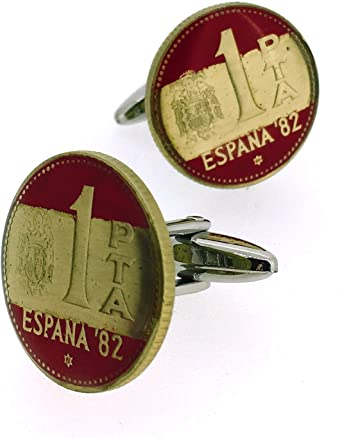 Gemelos para camisa Moneda Peseta Mundial 82 Bandera Española ...