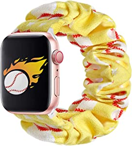 THOUSMOON Scrunchie Elastic Watch Band Compatible for Apple Watch,38mm 40mm / 42mm 44mm Light and Comfortable Watch Scrunchy Band Compatible with Iwatch Series 1/2/3/4 (Baseball, 38mm/40mm)