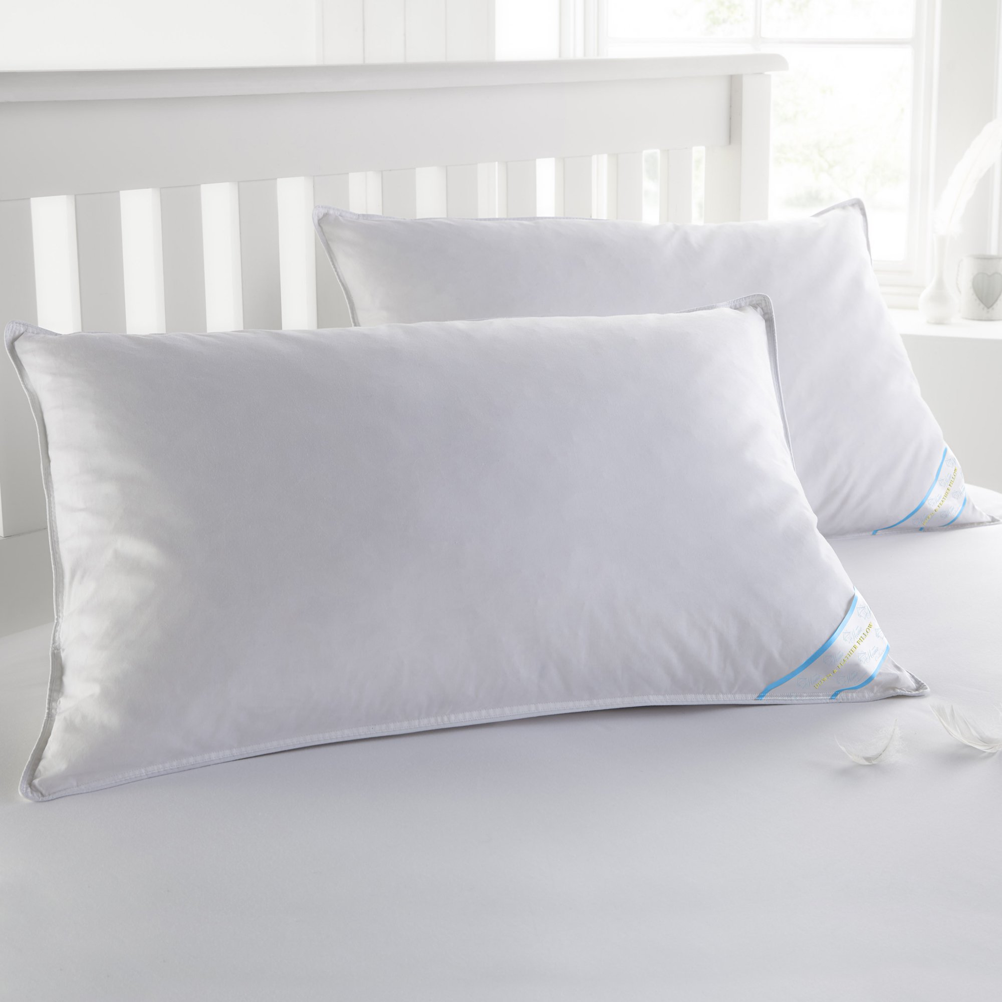 Sweet Home Collection 2 Pack Soft Down and Feather Pillow, 20'' x 36'' King, White