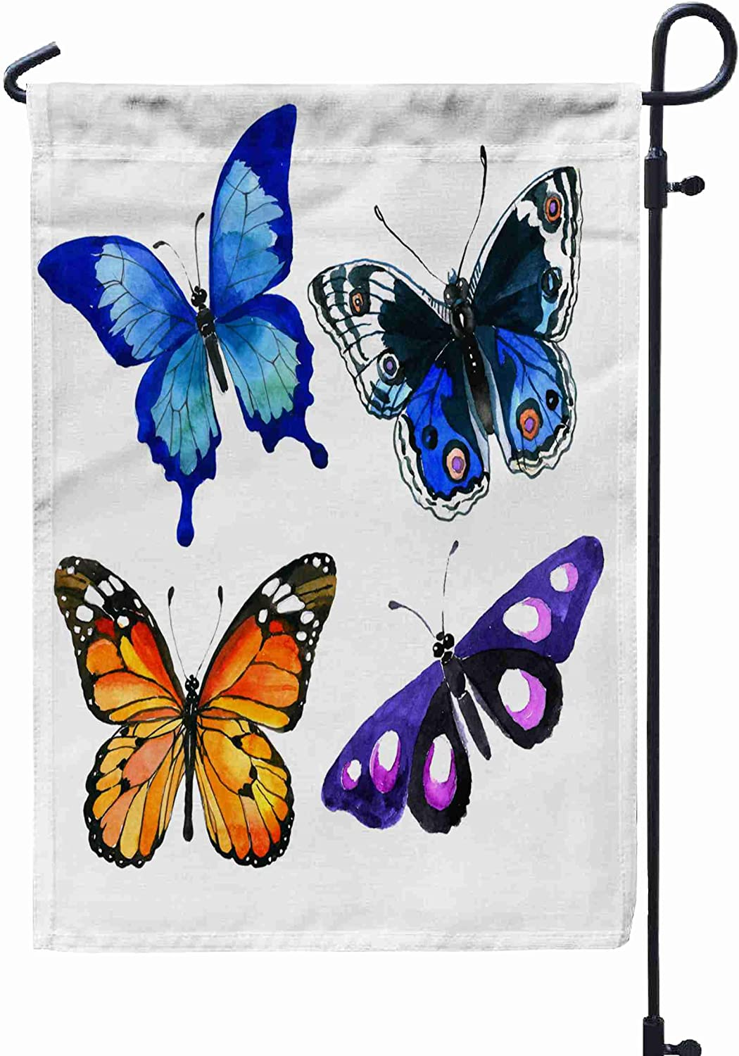 Amazon Com Shorping Welcome Garden Flag 12x18inch Exotic Butterfly Wild Insect In A Watercolor Style Isolated Full Name Of For Summner Spring Yard Décor Beautiful Garden Outdoor