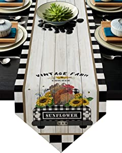 Infinidesign Farmhouse Table Runner 13x70inch Protect The Table from Scratches and Stains, Table Runners for Party Holiday Home All Season Use Country Style Vintage Farm Chicken Black Plaid