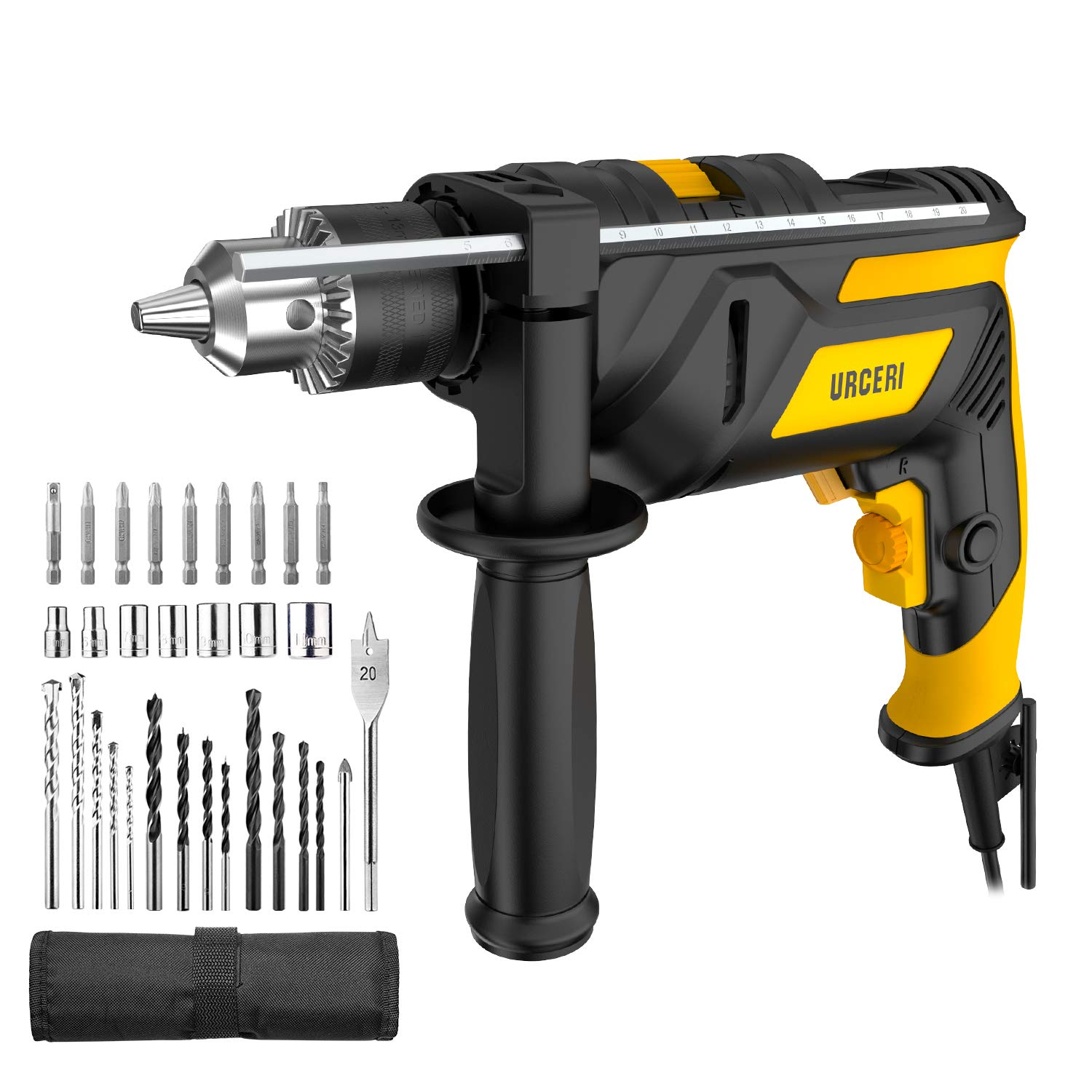 URCERI 2-in-1 Hammer Drill 710W 3000RPM Powerful Impact Drill and Driver,  360° Rotatable Auxiliary Handle Variable Speed with 31pcs Accessories Kit