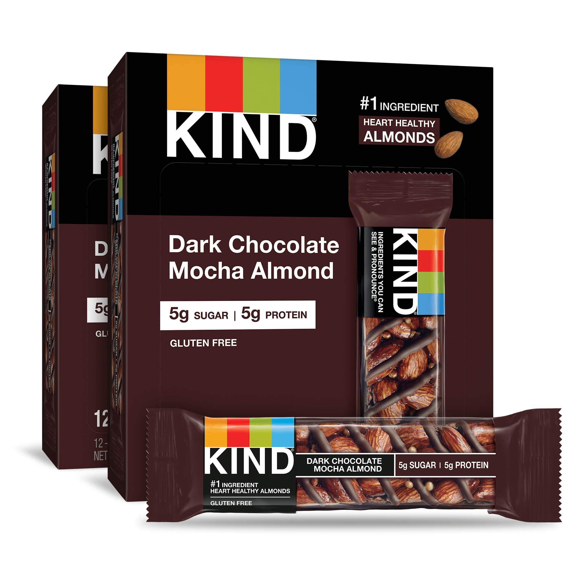 KIND Bars, Dark Chocolate Mocha Almond, Gluten Free, Low Sugar, 1.4 Ounce Bars, 24 Count by KIND