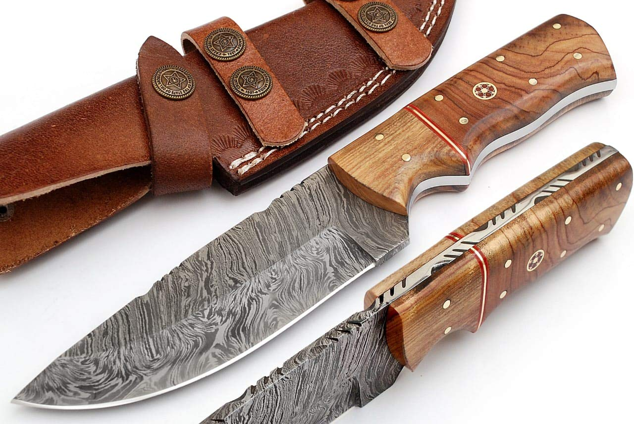 Grace Knives Handmade Damascus Steel Hunting Knife 9 Inches with Leather Sheath G-127
