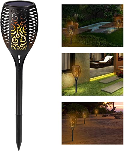 Solar Tiki Torch Light Flickering Flame Outdoor Waterproof Dusk to Dawn Garden Light 96 LED Dancing Flames Landscape Lighting Outdoor Path Light for Patio Deck Yard Driveway