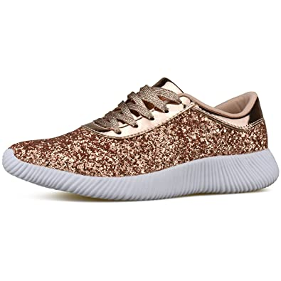 9d8d0da2e0c2 Womens Wedge Platform Fashion Sneaker Glitter Metallic Lace Up Sparkle Slip  On Street Casual Running Shoes