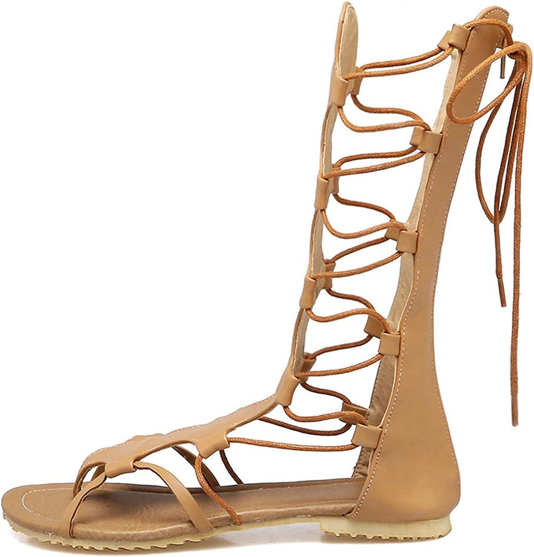Summerdress Flats Sandals Back Zipper Lace up Shoes Ladies Casual Sandals Mid-Calf Boots Size 34-52