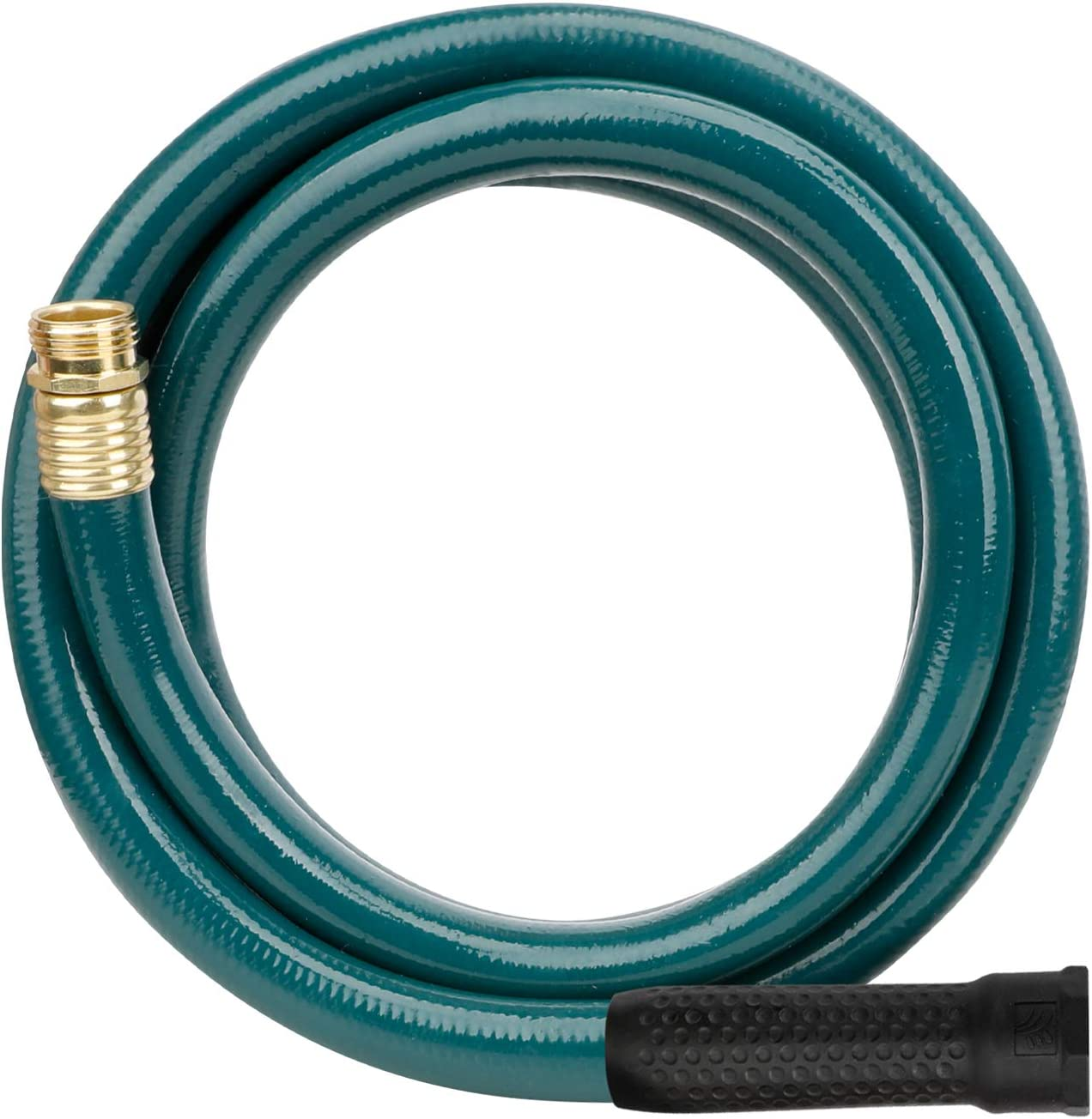 Worth Garden 5/8 in. x 12' Garden Hose - 12FT Durable PVC Non Kinking Heavy Duty Water Hose with Brass Hose Fittings - Dark Green - H055B02