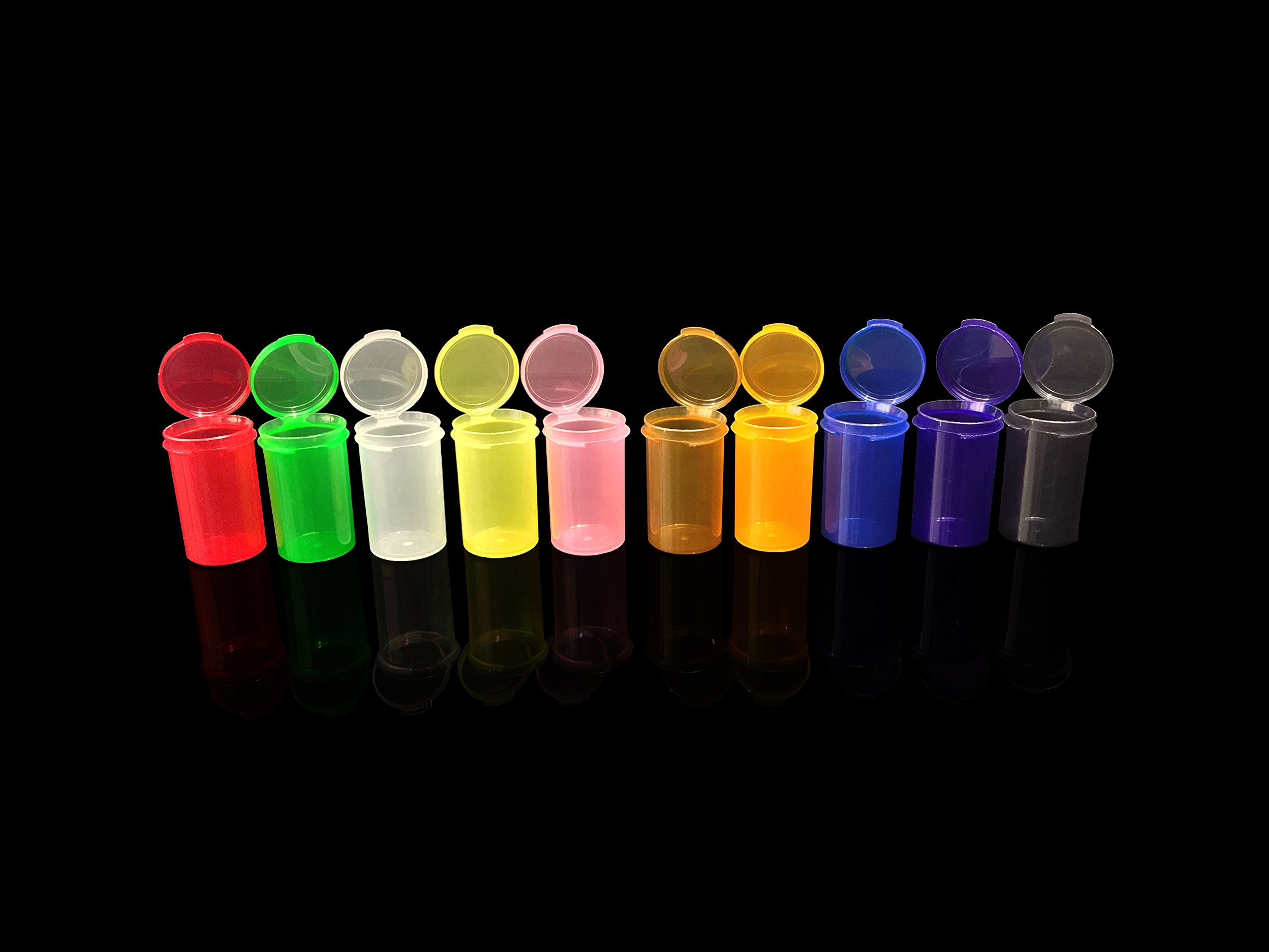 6 DRAM Small Round HINGED Container Crafts, RX Pill Bottles CONTAINERS Mix Color (600) by GCPACKS